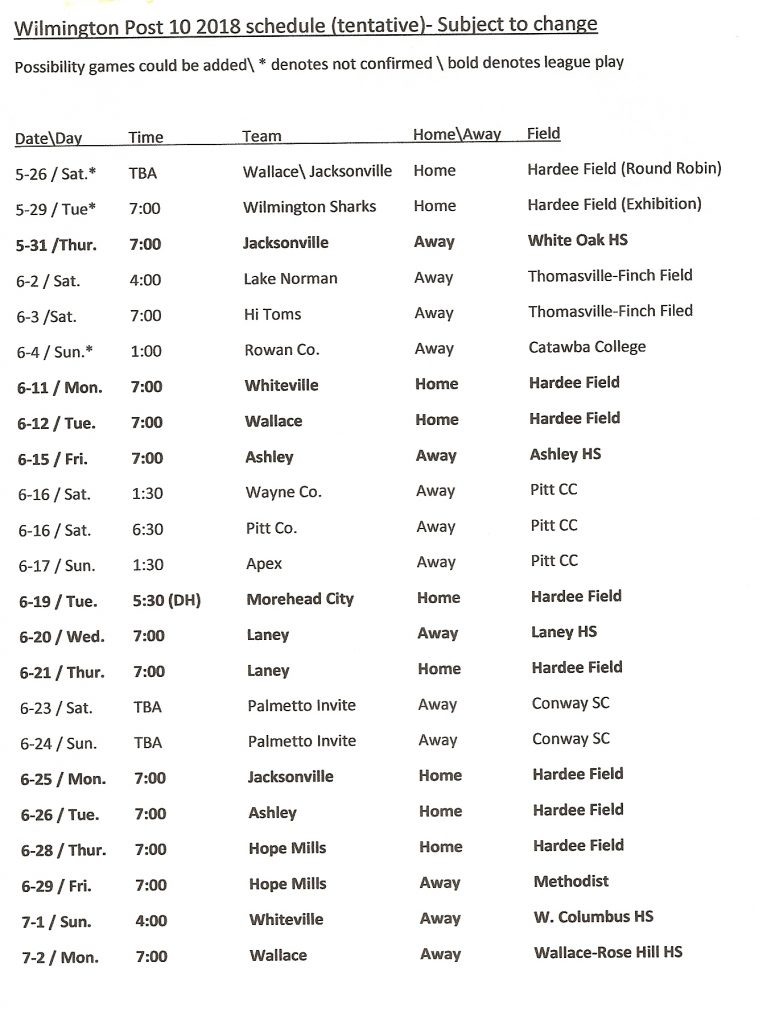 American Legion Post 10 Baseball Schedule (tentative)