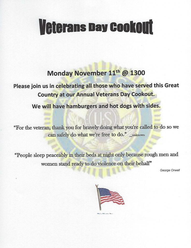 Veterans Day Cookout